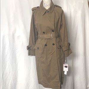 Double Breasted Olive Green Trench Coat MEDIUM